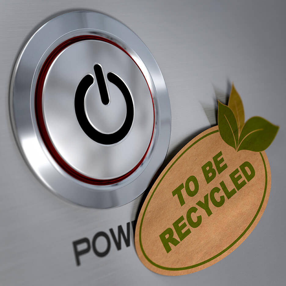 "Aluminum power button with ""To Be Recycled"" Sticker"